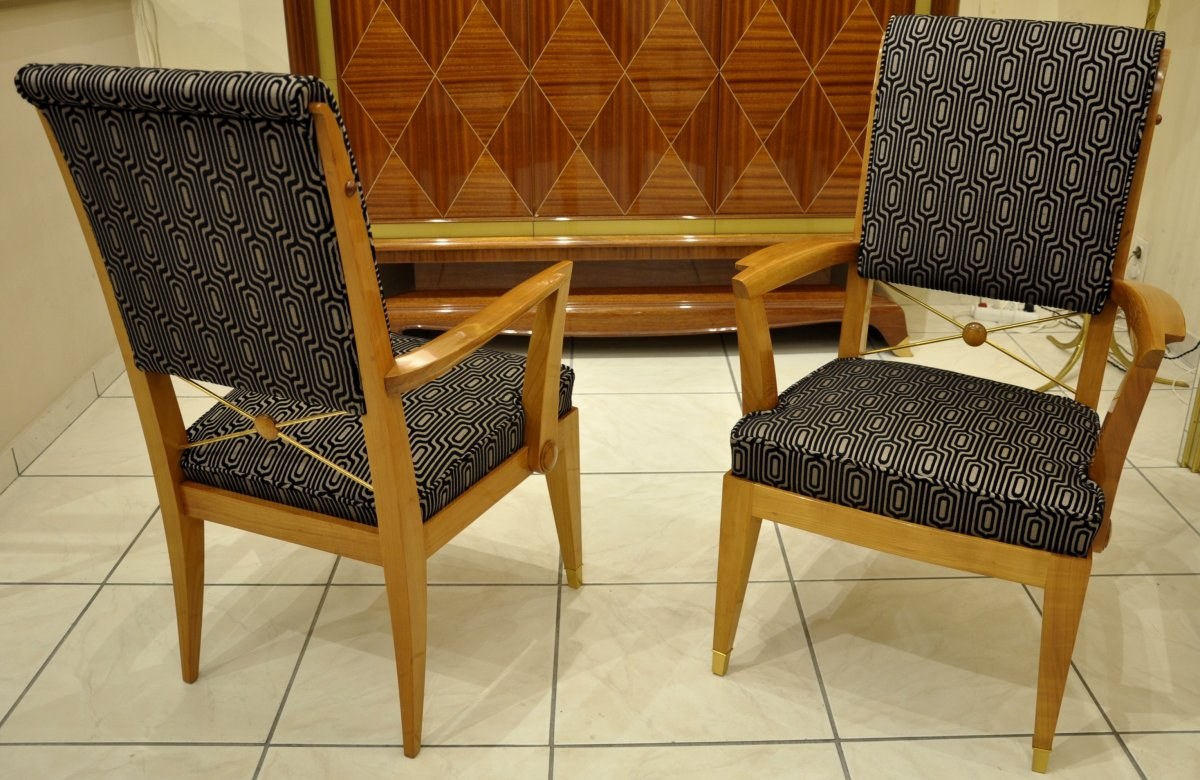 Jean Desnos Set Of Living Room Pair Of Armchairs & Table Circa 1940-photo-5
