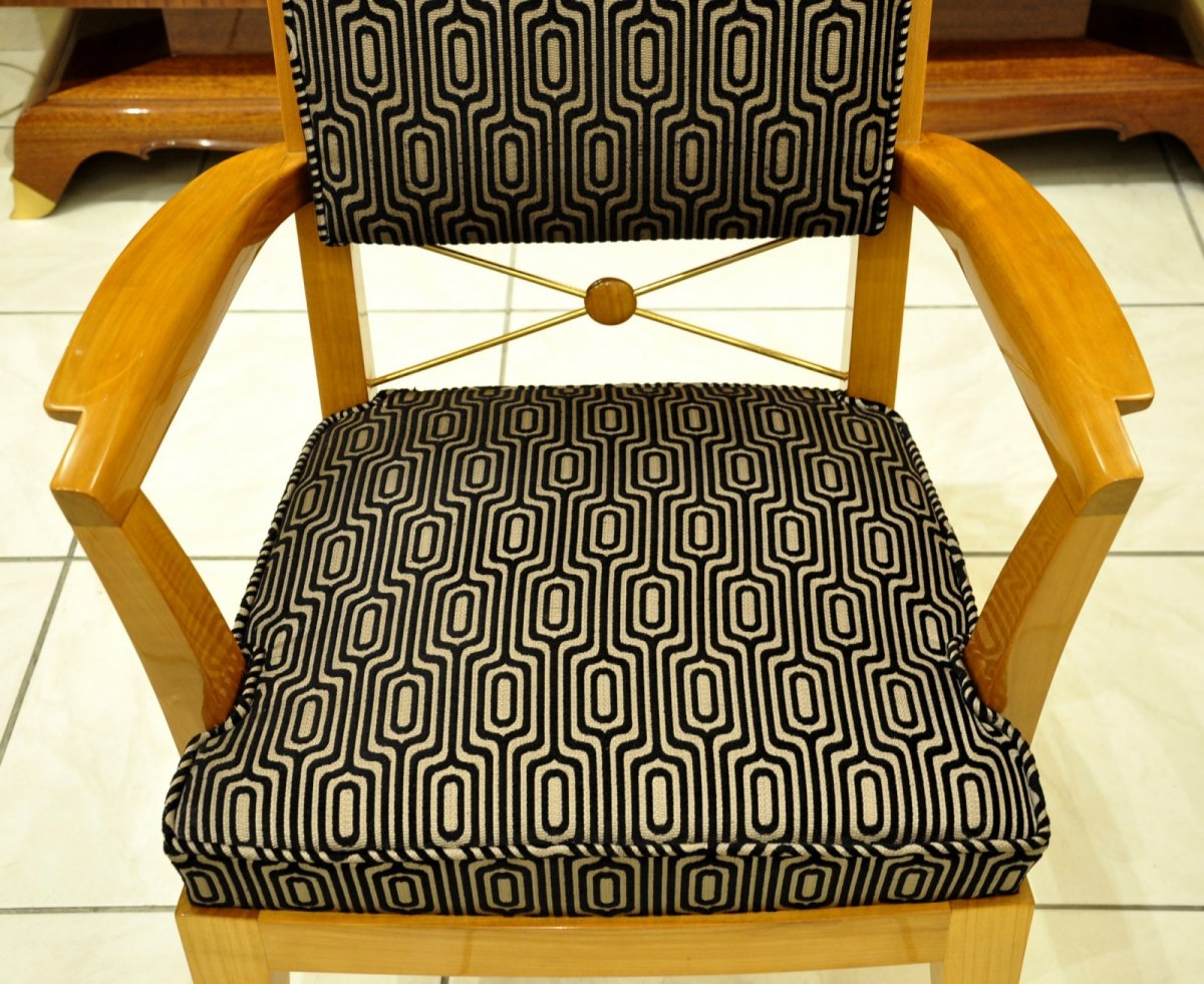 Jean Desnos Set Of Living Room Pair Of Armchairs & Table Circa 1940-photo-8