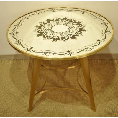 Jules Leleu Coffee Table Brass Gilded & Mirror 1945-1950