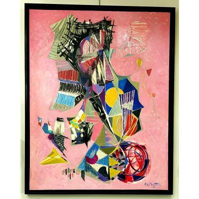 Pierre De Berroeta Huile Sur Toile 80 Figures Composition Abstraite De 1990