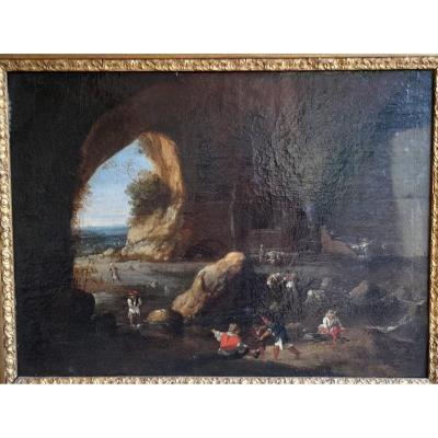 Tableau scène de pêche dans une grotte