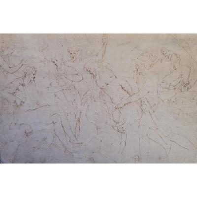Dessin à la plume 16e siècle attribué à Franco Batista