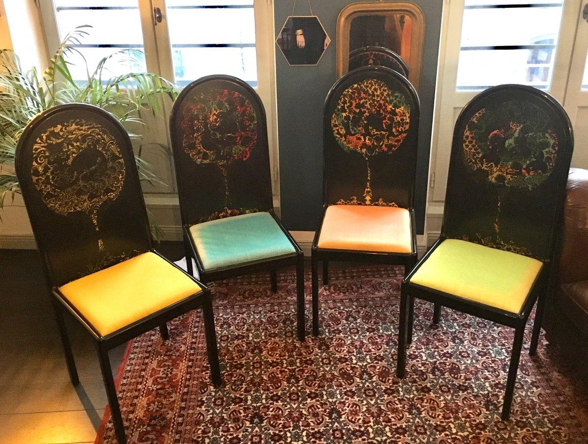4 Screen Bjorn Wiinblad Chairs For Rosenthal Vintage