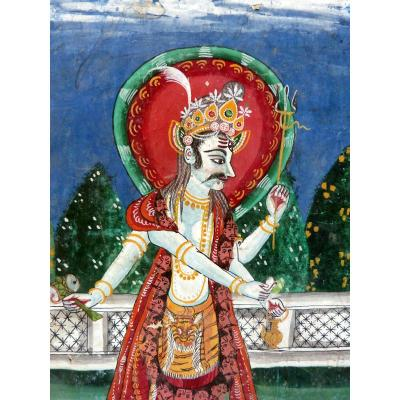 XVIII Rajasthan Painting Of Shiva In A Garden
