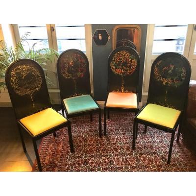 4 Chaises Screen Bjorn Wiinblad Pour Rosenthal Vintage