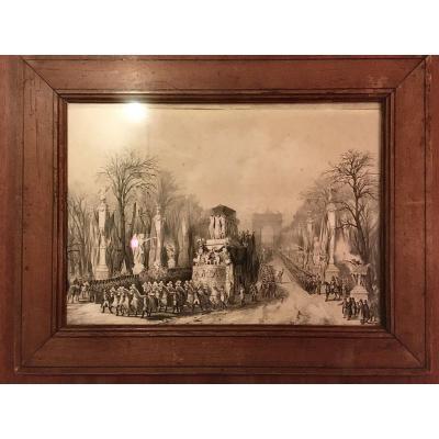 Lithographie Retour Des Cendres de  Napoléon
