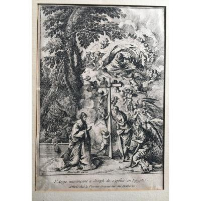 Gravure  Italienne XVII Pietro Testa et Nicolas Cochin