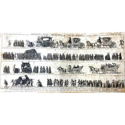 Gravure Différentes Espèces d'Enterrements En Hollande, 1769