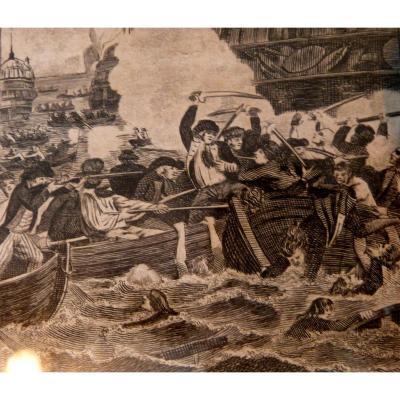 Gravure XVIII De La Bataille De La Hougue De William Grainger