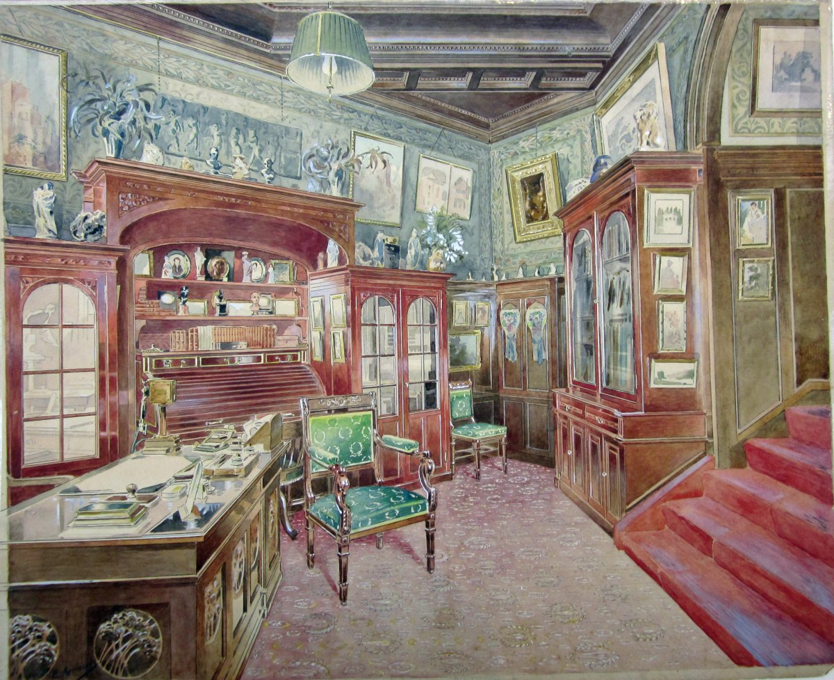 French School Of The End Of The 19th Century. Interior Of An Office. Watercolor.