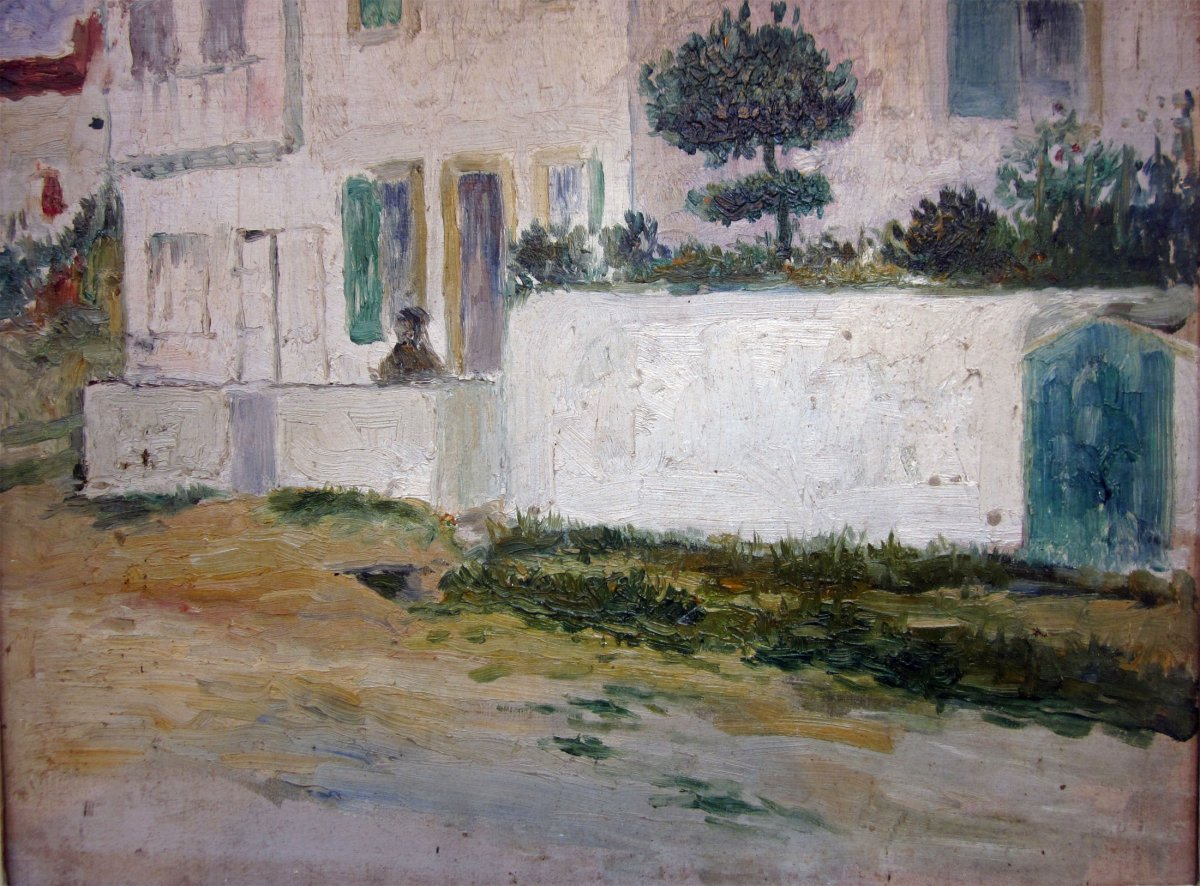 Pierre Labrouche 1876-1956 Small Wall In Spain Oil On Panel Stamp On The Back