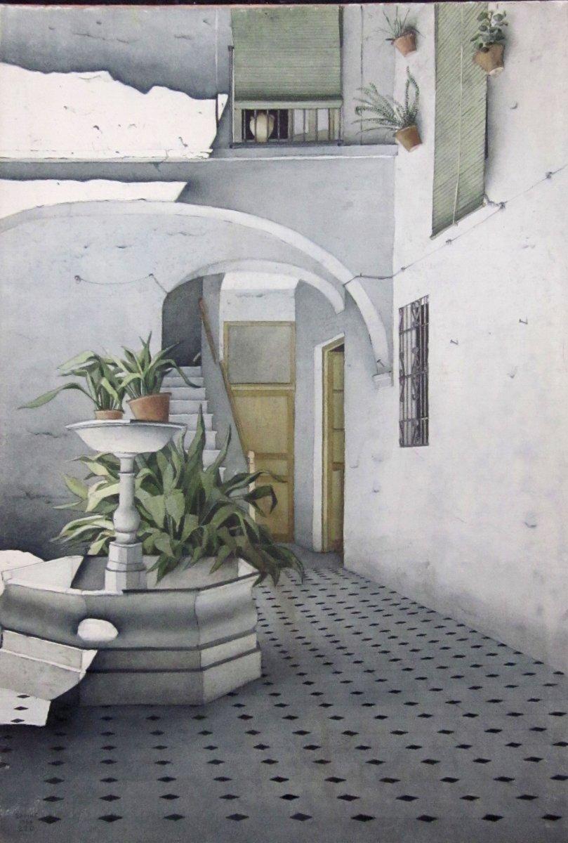 Robert Banks 1911-2001 Un Patio à Cordoue Espagne Aquarelle