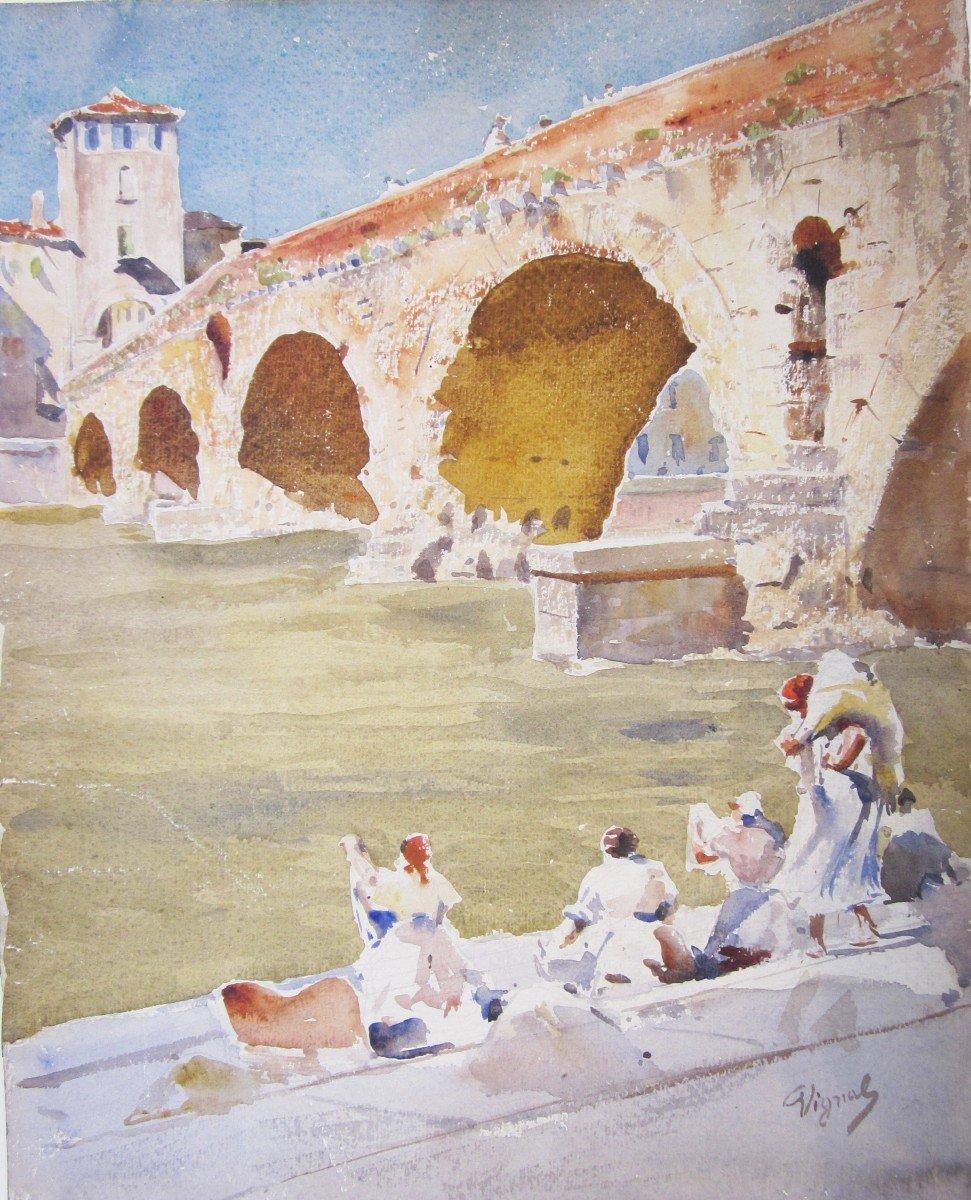 Pierre Vignal 1855-1925 Pont Romain à Vérone Aquarelle