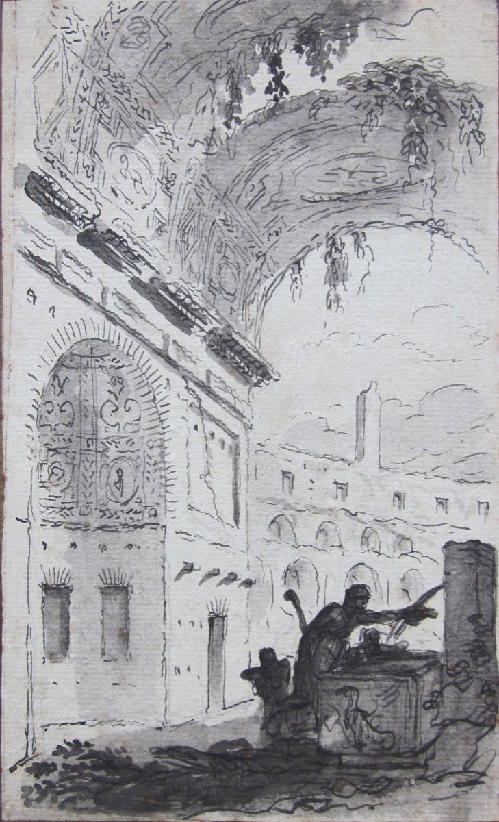 Pierre Lélu 1741-1810 Roman Ruins Drawing