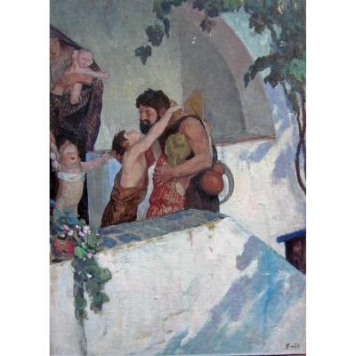 """François Maurice Roganeau 1883-1973 """"bucolique"""" Huile Sur Carton"""