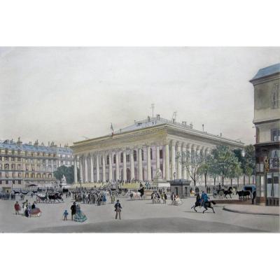 Ecole Française Du 19ème Siècle Le Palais De La Bourse à Paris Aquarelle