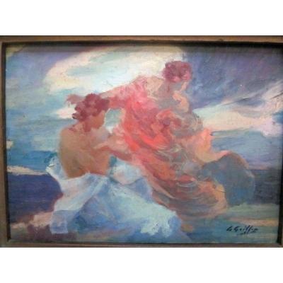 Gabriel Griffon 1866-1938 Couple Huile Sur Panneau d'Acajou
