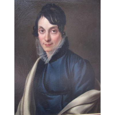 Alexandre Bally 1764-1835 Portrait De Femme Huile Sur Toile