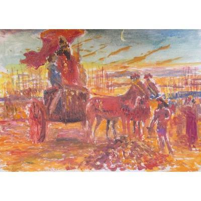 Georges Antoine Rochegrosse 1859-1938 Roi Sur Son Char Huile Sur Carton
