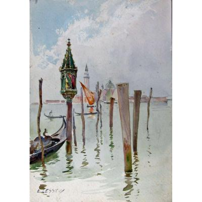 Louis Ernest Lessieux 1846-1925 View From Venice Watercolor