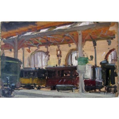 Alexandre Bailly 1866-1949 La Gare Plm In Paris Oil On Panel