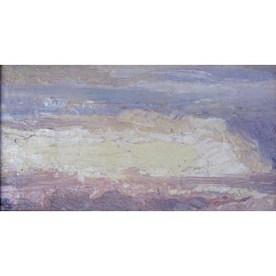 Maurice Busset Study Of Sky Oil On Cardboard
