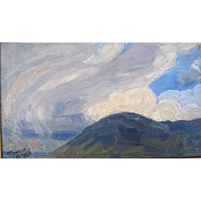 Maurice Busset Study Of Stormy Sky Oil On Cardboard