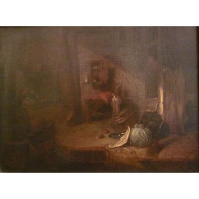Follower Of Willem Kalf Dutch Interior Oil On Canvas