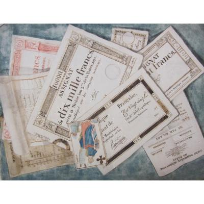 Trompe l'Oeil Aux Assignats And A Watercolor Playing Card From The End Of The 18th Century