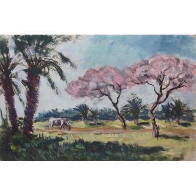 Albert Lepreux 1868-1959 Biskra 1912 Oil On Paper