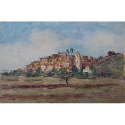 Albert Lepreux 1868-1959 Village Des Aurès T'kout Oil On Paper