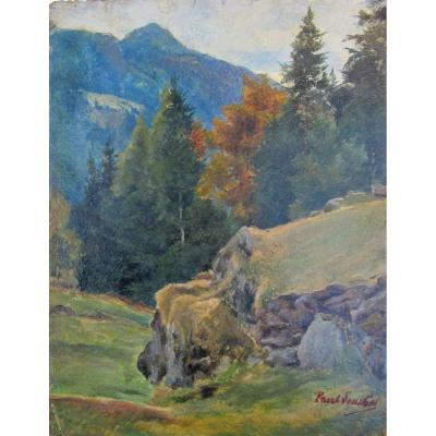 Paul Louchet 1854-1936 Montagne Noire En Suisse Huile Sur Papier