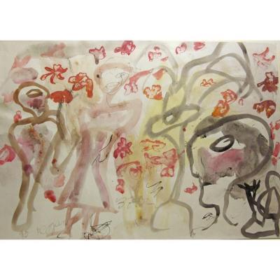 Aurel Cojan 1914-2005 Les Danseurs Aquarelle