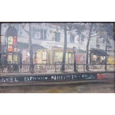 Alexandre Bailly 1866-1949 Le Boulevard Saint Martin Paris Huile Sur Panneau