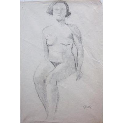 André Derain 1880-1954 Study Of A Seated Female Nude Drawing In Black Pencil * Stamp Of The Workshop