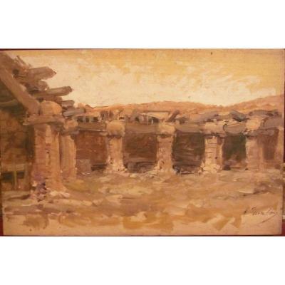 Marcel Jambon 1848-1908 Village d'Afrique Du Nord Huile Sur Panneau