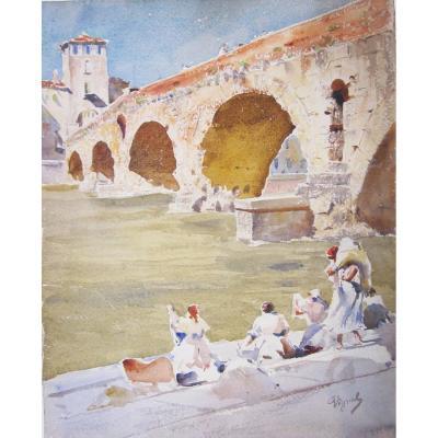 Pierre Vignal 1855-1925 Roman Bridge In Verona Watercolor
