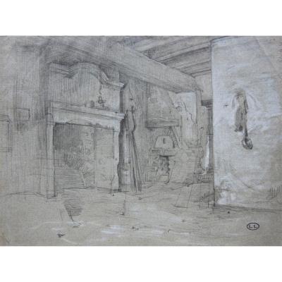 Léon Lhermitte 1844-1925 Intérieur De Ferme