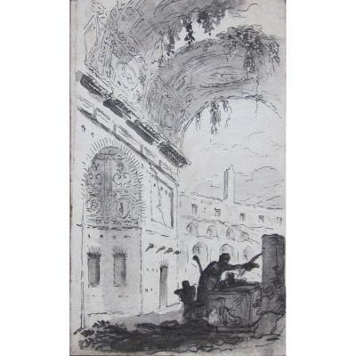 Pierre Lélu 1741-1810 Ruines Romaines Dessin