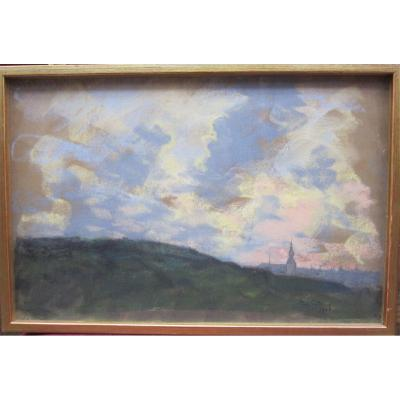 Johan Ten Cate 1858-1908 Etude de ciel et ville