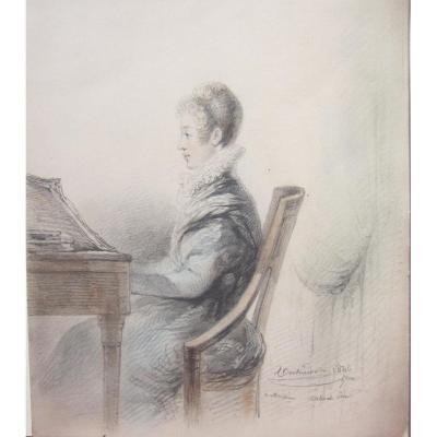 Jeune Femme Au Pianoforte Dessin D époque Romantique