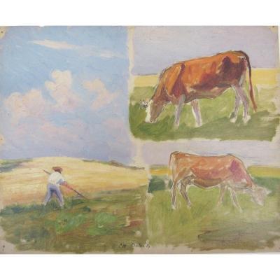 Charles Wislin 1852-1932 Moissonneur Et Vaches Au Pâturage Huile Sur Papier
