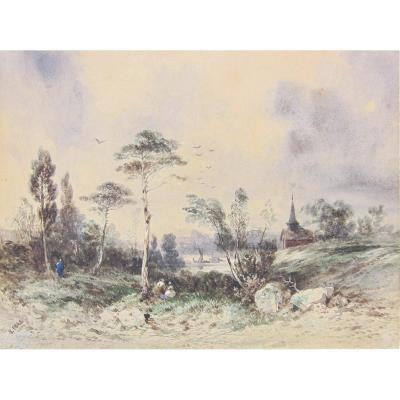 Hippolyte Lebas 1812-1881 Paysage Aquarelle