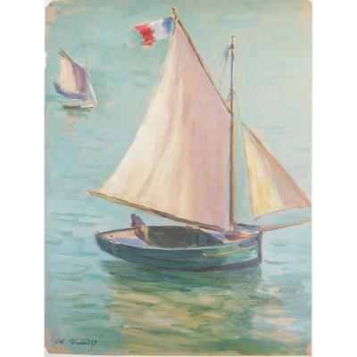 Charles Wislin 1852-1932 Voilier à Dinard Huile Sur Papier