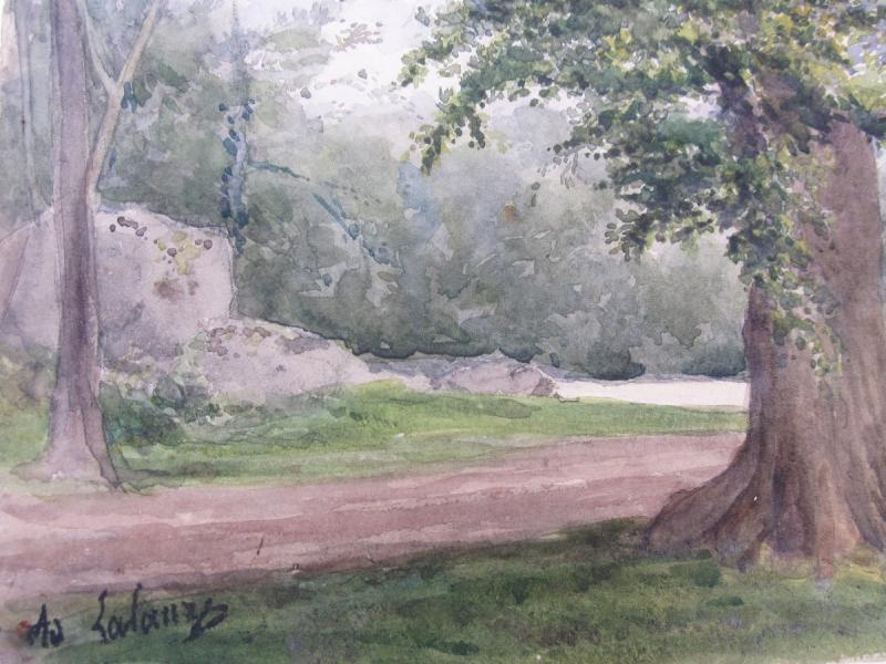 Adolphe Lalauze 1838-1905 Oak In The Forest Of Fontainebleau Watercolor-photo-2