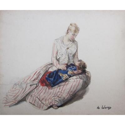 Adolphe Lalauze 1838-1905 Jeune Fille à Sa Poupée Aquarelle