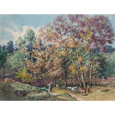 Eugène Damblans 1865-1945 Paysans Dans Les Bois Aquarelle