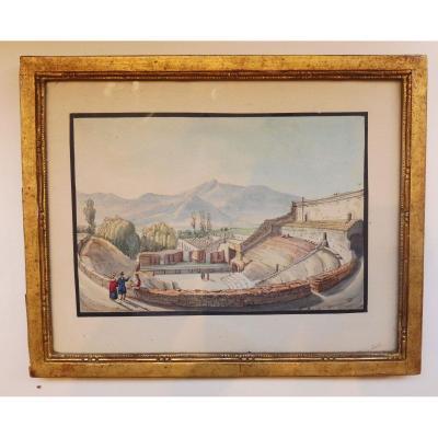 Le Théâtre Antique à Pompéi Aquarelle Sur Trait Gravé 19ème Siècle