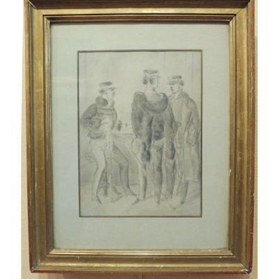 Constantin Guys 1802-1892 Trois Militaires Dessin Au Lavis d'Encre Grise