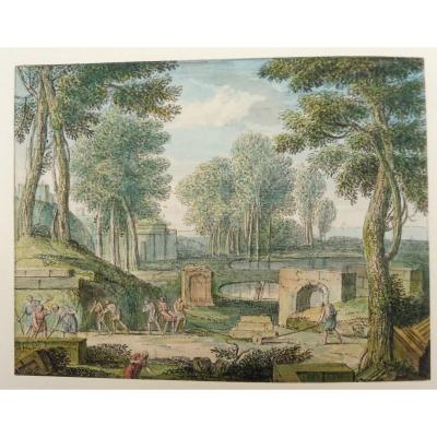 Louis Fabricius Dubourg 1693-1775 Jardiniers Au Travail Dans Un Parc Aquarelle